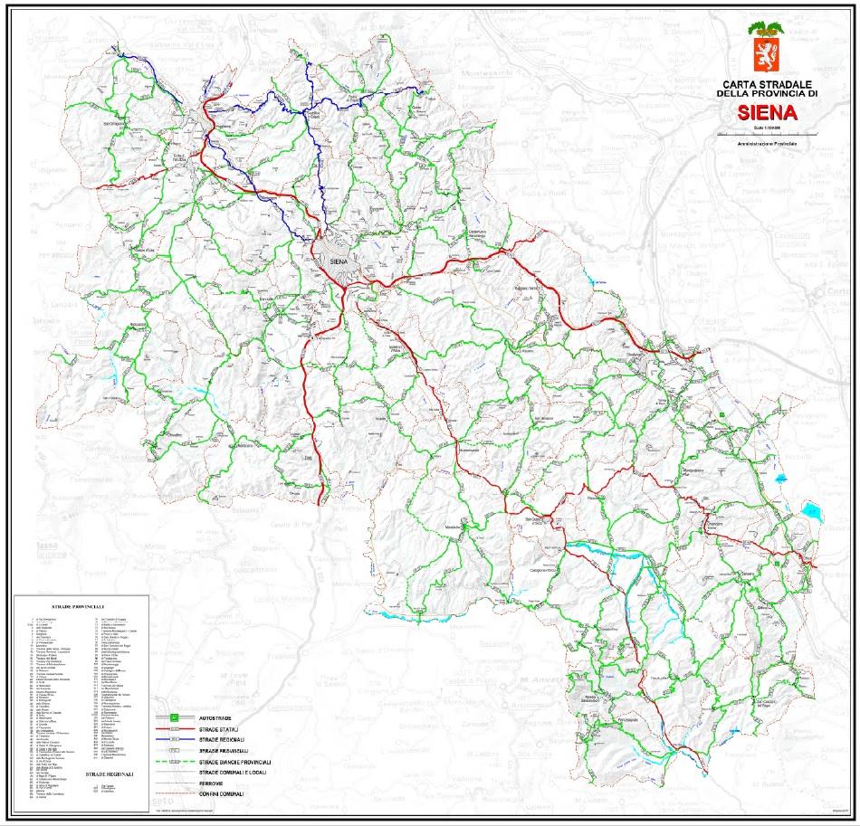 Cartina Geografica Di Viterbo E Provincia.Provincia Di Siena Rete Provinciale